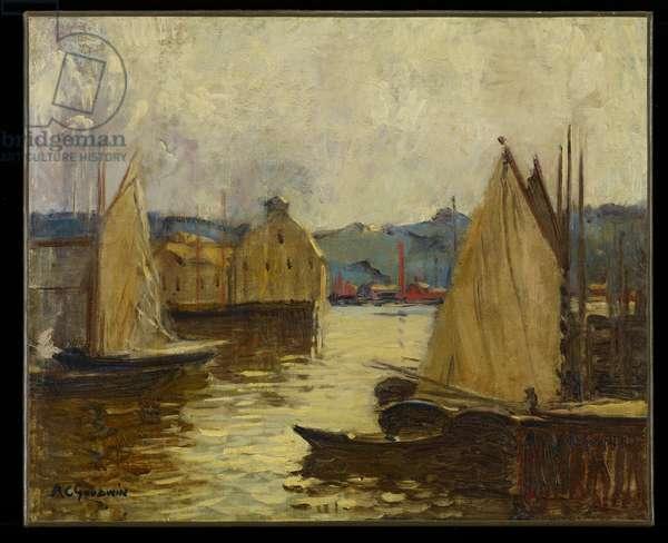 Gloucester Harbour, c.1910 (oil on board)