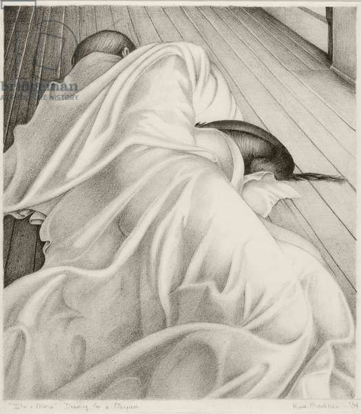 Elin and Maria, 1934 (lithographic crayon on paper)