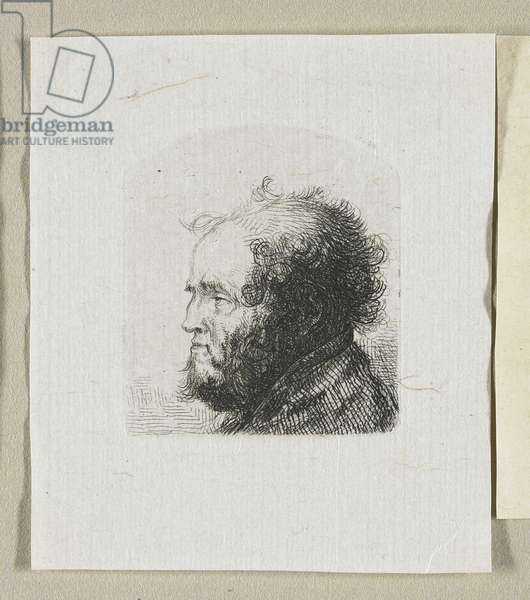 Head of a Bearded Man in Profile Facing Left, 1774-1789