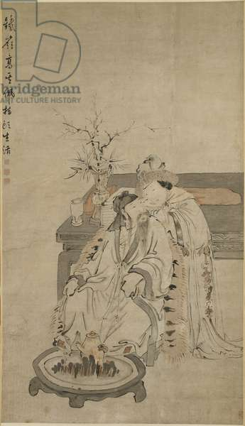 Beauty in Winter, 17th-18th century (ink & colour on paper)