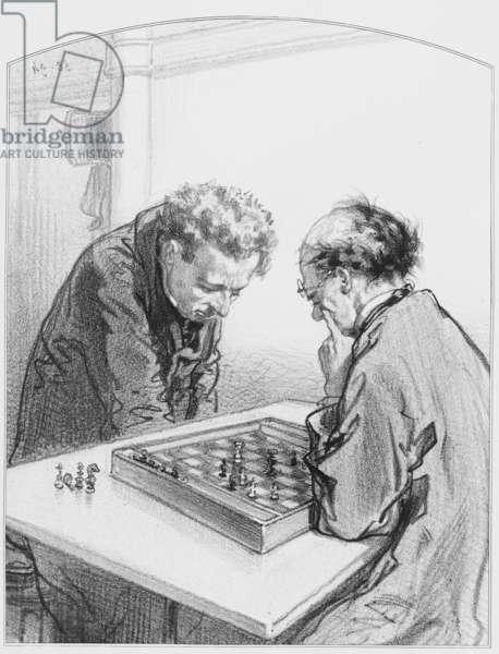"""Les échecs, Plate 15 from """"Les Toquades"""", 1858"""