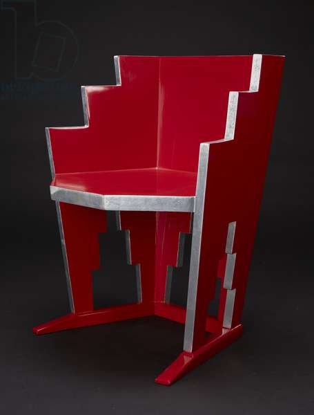Skyscraper Chair, c.1927-20 (lacquer & silver leaf on wood)