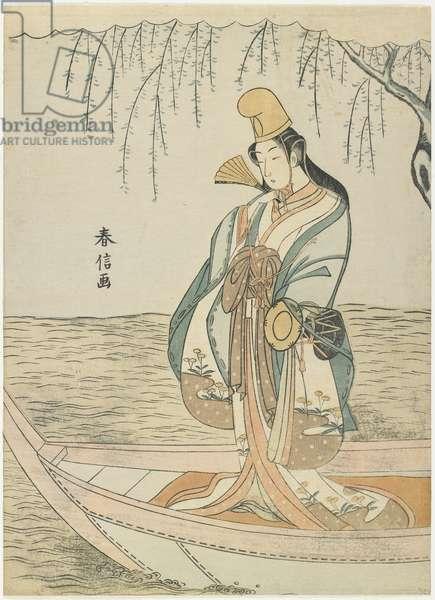 Woman in an Asazuma Boat in the Guise of Shirabyo_shi, c. 1767
