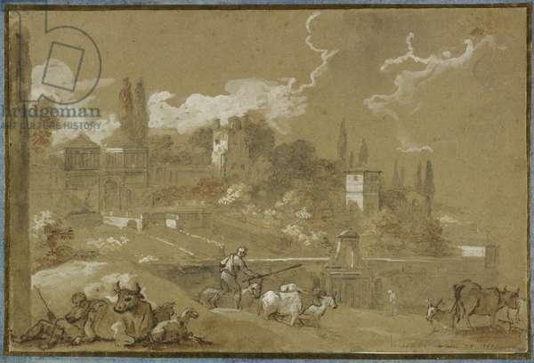 View of Campo Vacino, Rome, 1767