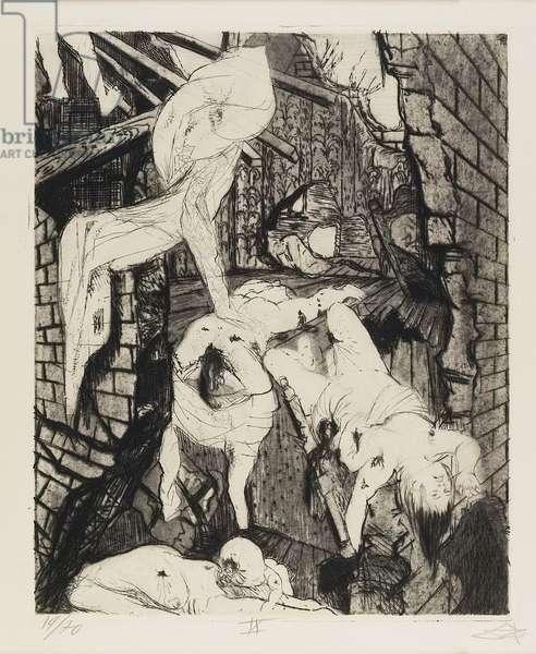 Durch Fliegerbomben zerstörtes Haus (House Destroyed by Aerial Bombs), plate 39 from Der Krieg (The War), 1924