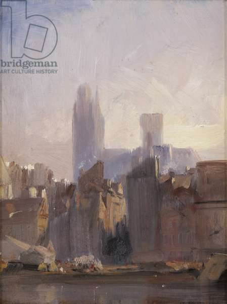 Rouen Cathedral, Sunrise, 1825 (oil on millboard)