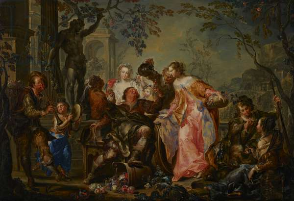 The Pleasures of the Seasons: Autumn, c.1730 (oil on copper mounted with masonite backing)