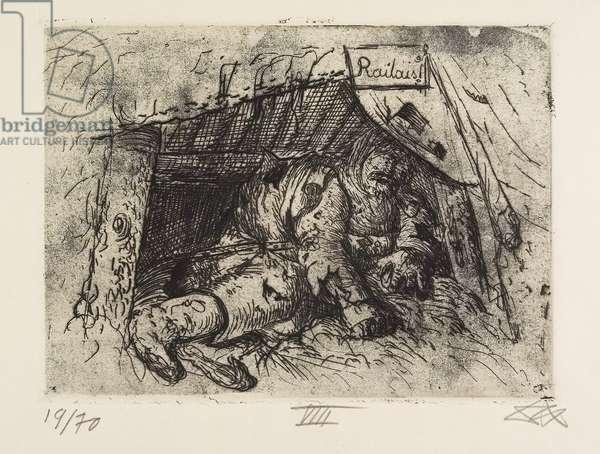 Relaisposten (Herbstschlacht in der Champagne) (Relay Station [Autumn Battle in Champagne], plate 8 from Der Krieg (The War), 1924