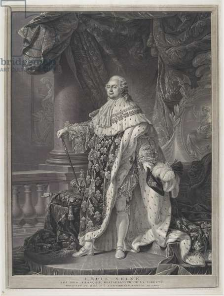 Le Sacre - Portrait of King Louis XVI in Coronation Regalia, engraved by Charles-Clément Bervic (1756-1822), 1790 (engraving & etching)