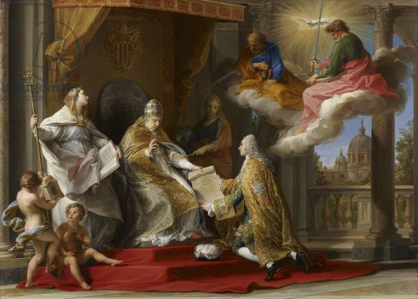 Pope Benedict XIV presenting the Encyclical 'Ex Omnibus' to the Comte de Stainville, later Duc de Choiseul, 1757 (oil on canvas)