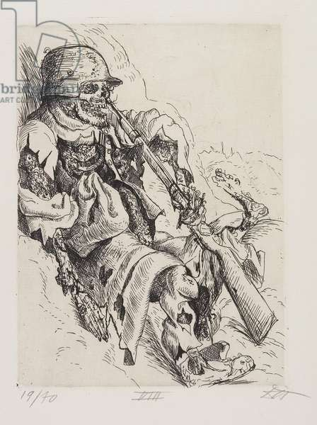 Toter Sappenposten  (A Dead Trench Sentry), plate 18 from Der Krieg (The War), 1924