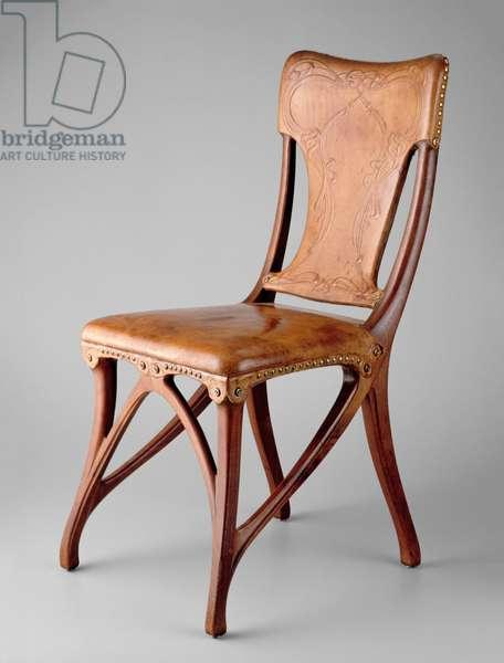 Side chair, 1900 (walnut, leather & brass tacks)