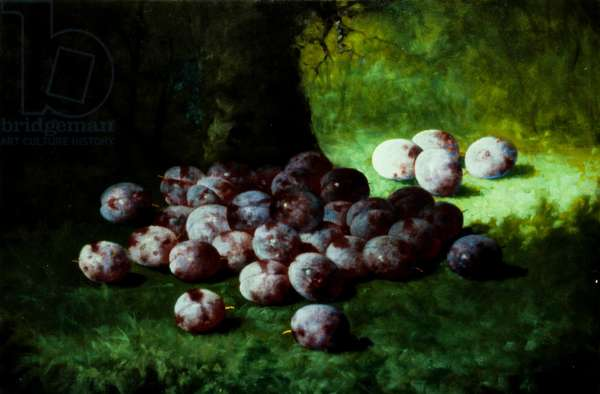 Plums, c.1870 (oil on canvas mounted to millboard)