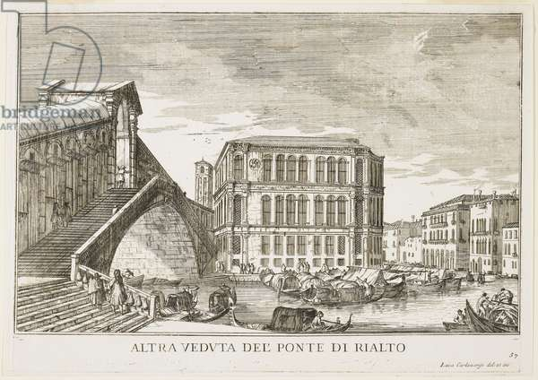 """View of the Rialto Bridge, plate from """"The Buildings and Views of Venice"""", 1703, 1750-53 (etching)"""