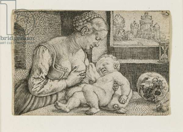 Mother and Child with Skull and Hourglass, c. 1528-1530