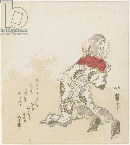 Korean Surprised at the View of Mt. Fuji, c.1830 (colour woodblock print)