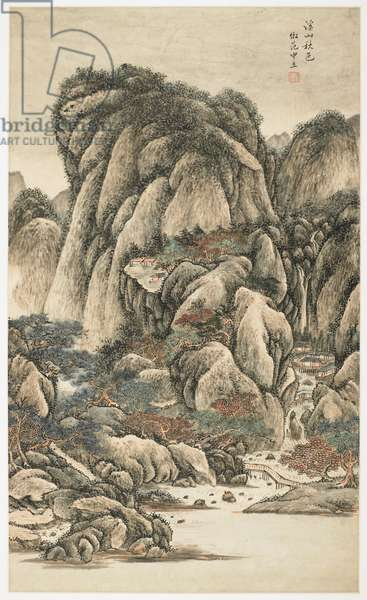 Autumnal Colors Among Streams and Mountains, from an album of 12 leaves, 1723 (ink & colour on paper)