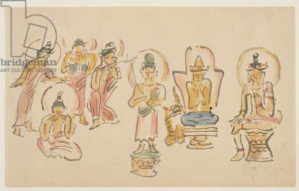 (Asakusa Kannon temple caricatures A), c. 1900