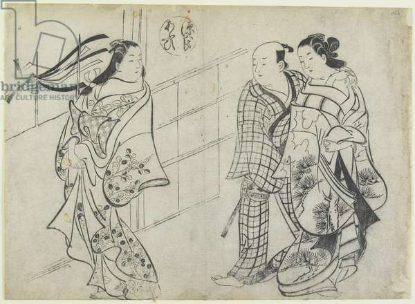 Two Women and a Man as Mitate of the Aoi's Story from the Tale of Genji, early 18th century