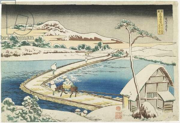 """An Ancient View of the Pontoon Bridge at Sano, Ko_zuke Province"", 1833-1834"