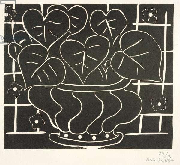 Bowl of Begonias I, 1938 (linocut)