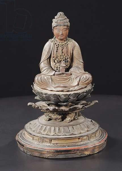 Seated Miroku Bosatsu, Kamakura Period (wood, metal, gold leaf, pigment & rock crystal)