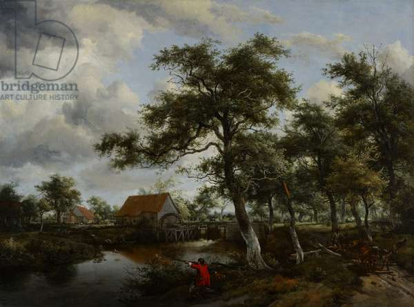 Wooded Landscape with Watermill, c.1665 (oil on canvas)