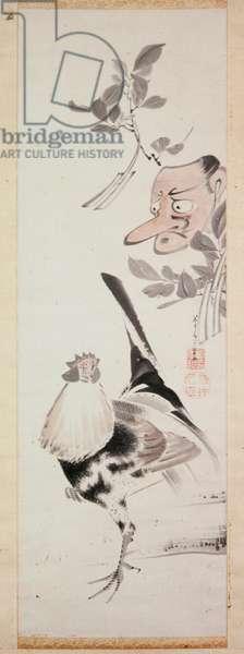 Cockerel and Tengu-Mask, c.1775 (ink & light colour on paper)