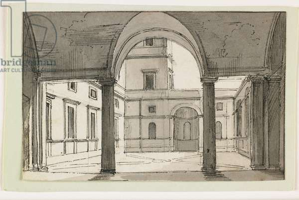 View of an Italian Colonnade and Courtyard, early 19th century (pen & brown ink & gray wash over black chalk)