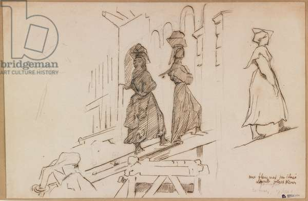 Women Carrying Mortar (pen & brown ink & wash over graphite)