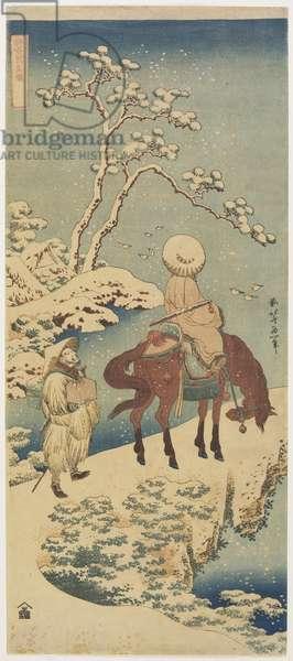 Horseman in Snow, 1833-34 (colour woodblock print)