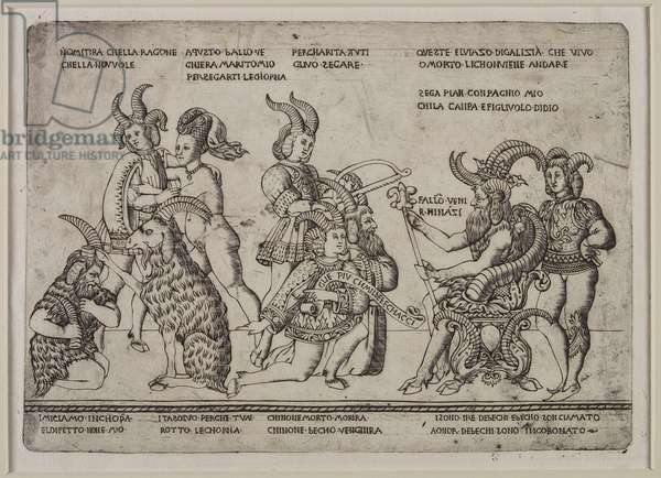 The King of Goats: A Satire on Cuckolds, c.1460-64 (engraving)