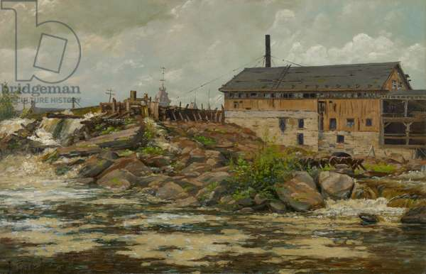 Farnham's Mill at St. Anthony Falls, Minneapolis, 1888 (oil on canvas)