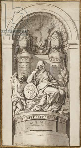 Study for a Funerary Monument, 1750 (black chalk, pen and brown ink, brown and gray washes, white heightening on two joined sheets)