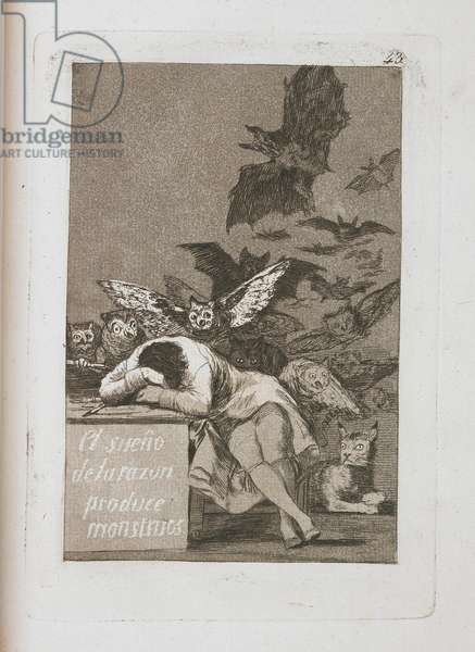 El sueño de la razón produce monstruos (The Sleep of Reason Produces Monsters), Plate 43 from Los Caprichos, 1797-1798