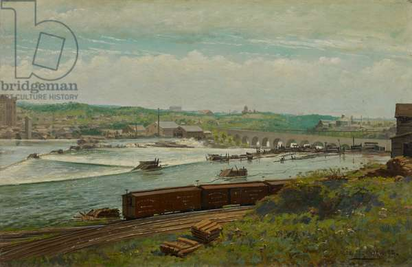 Mill Pond at Minneapolis, 1888 (oil on canvas)