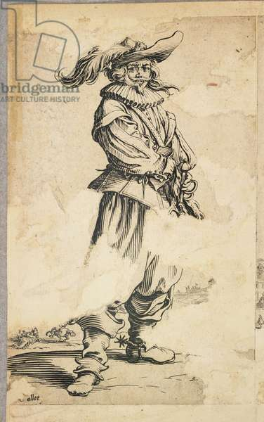 """Soldier with Feathered Hat, from """"La Noblesse de Lorraine"""" (verso), c.1620-23 (etching)"""
