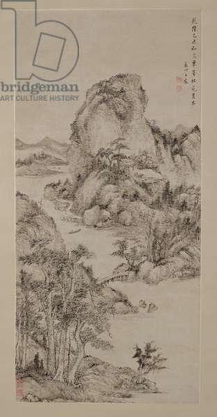 Landscape after Dong Yuan, 1775 (ink on paper)