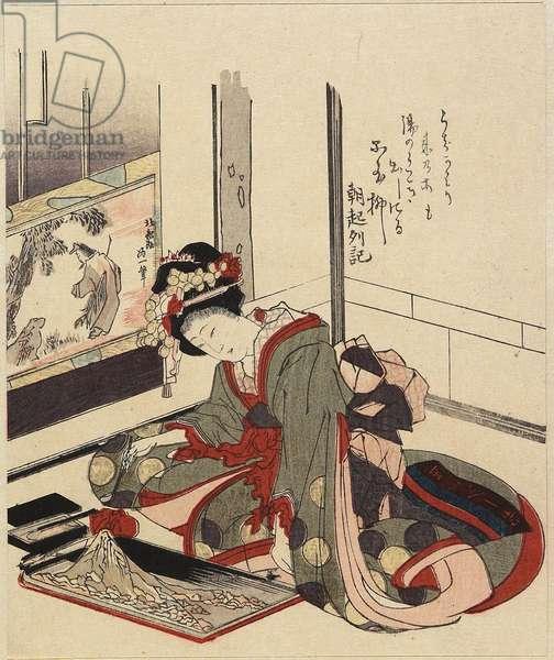 Woman Arranging Bonkei, 1820-1834
