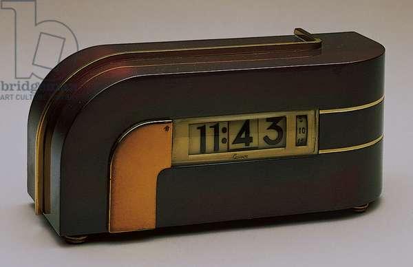 """The Zephyr"" desk clock, c.1934 (brass, copper & celluloid)"