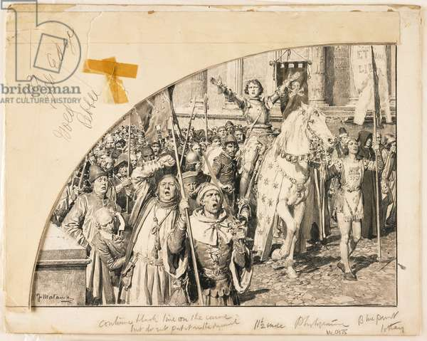 Cola di Rienzi Surrounded by the People, 1931 (pen & black ink, black chalk & grey wash on paper laid down on board)