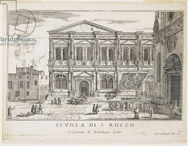 "View of the Confraternity of St. Rocco, plate from ""The Buildings and Views of Venice"", 1703, 1750-53 (etching)"