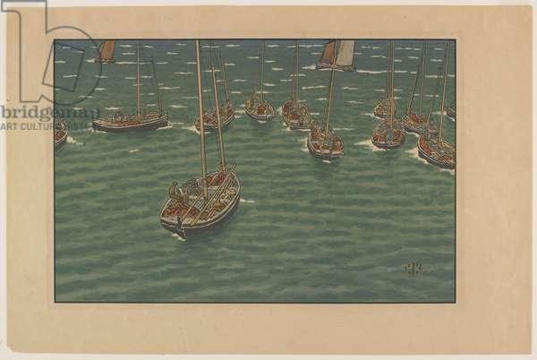 """Bateaux au mouillage à Tréboul, plate 5 from, """"Le Beau Pays de Bretagne"""", 1902 (colour litho)"""