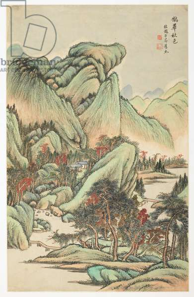 Autumnal Color Among Mount Quan and Mount Hua, from an album of 12 leaves, 1723 (ink & colour on paper)