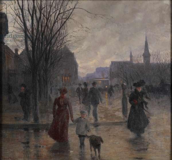 Rainy Evening on Hennepin Avenue, c.1902 (oil on canvas)