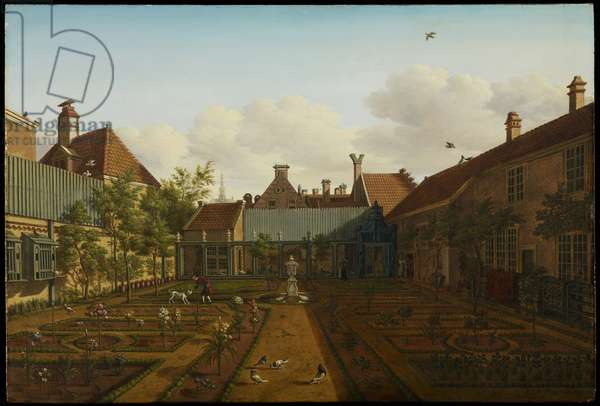 View of a town house garden in The Hague, 1775 (oil on panel)