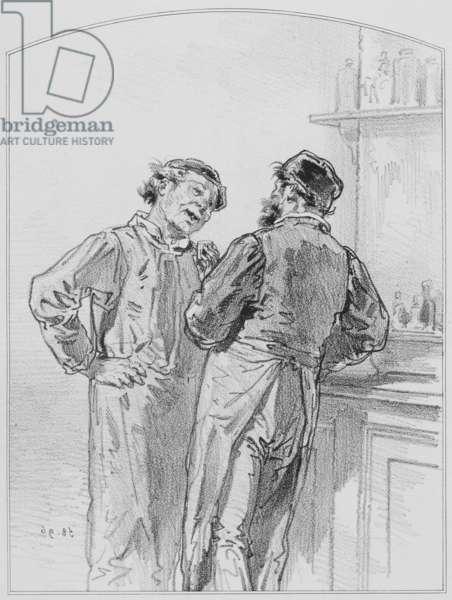 """La goutte, Plate 17 from """"Les Toquades"""", 1858"""