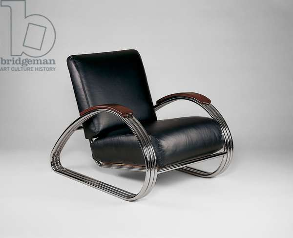 Armchair, c.1934 (chromium-plated steel, wood & leather)