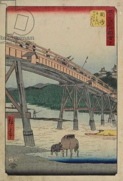 No.39 Yahagi Bridge over Yahagi River, Okazaki, July 1855