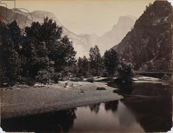 Distant View of the Domes, Yosemite Valley, California, c.1866 (albumen print)